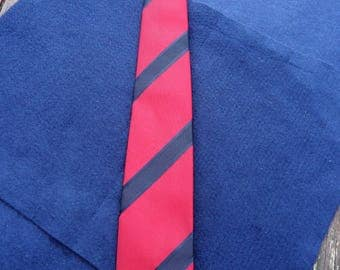 1960's Vintage Red and Black Striped Tie