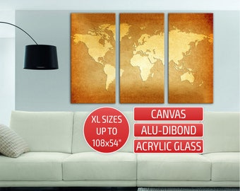 World Map golden Giclee print Metal wall art Triptych 3 panel contemporary wall art Canvas Print Home wall decor Gallery wrapped canvas