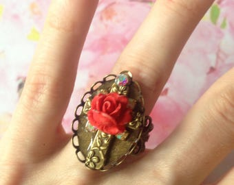 Adjustable Cross and red rose ring