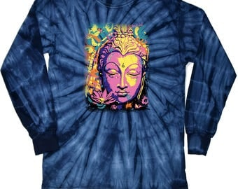 Yoga Clothing For You Mens Psychedelic Buddha Long Sleeve Tie Dye Tee Shirt = 2000-PSYCHBUD