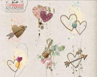 Romantic Scrapbook Idea, Instant Download, Digital Scrapbooking, Paint and Glitter Cluster Hearts, Engagement Photo Album, Valentine's Day