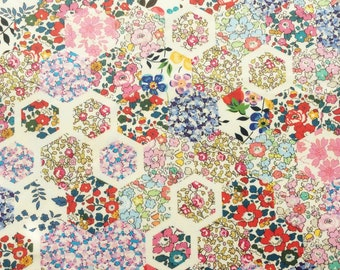 "Patchwork Stories A Liberty Tana Lawn Fabric scrap white blue pink red green yellow 10"" x 15"" (25,4 cm x 38 cm) The Weavers Mill"