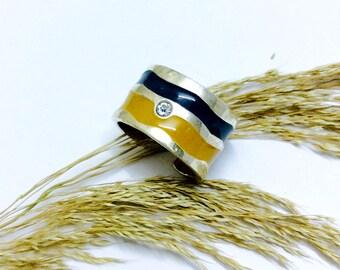 Yellow Blue swarofski adjustable enamel ring |Swarofski stone ring