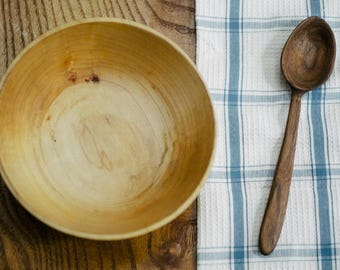 Handmade wooden bowl and spoon