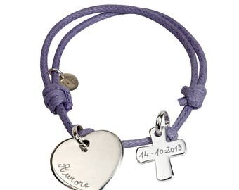 Communion engraved sterling silver charm bracelet