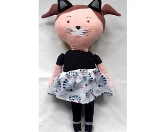 Cute catgirl rag doll for little girl