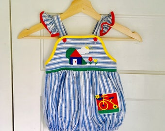 Vintage Baby Girl Romper / Size 12 Months All Cotton Toddler One Piece Outfit