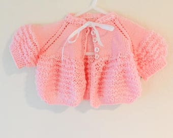 Vintage Pink Knit Baby Girl Sweater / Newborn Preemie Crocheted Baby Doll Sweater Cardigan