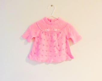 Vintage 1960's Baby Girl Knit Pink Dress / Size 0-3 Months Newborn Cotton Springtime Floral Infant Dress