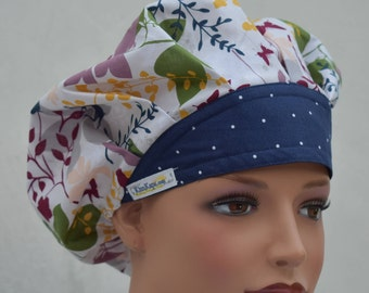 Traditional Bouffant Surgical Scrub Cap featuring a white material with butterflys deer flowers in blue purple etc with a coordinating band