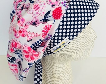 Bouffant Scrub Cap with ties, scrub hat, Bouffant scrub hat, bouffant with ties featuring pink and blue flowers and a coordinating band