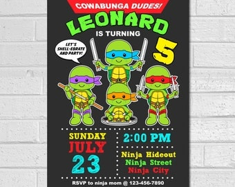Ninja Turtle Invitation, Ninja turtle birthday invitation, tmnt invitation