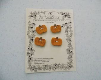 Pumpkins - Hand Painted Porcelain Ceramic Buttons