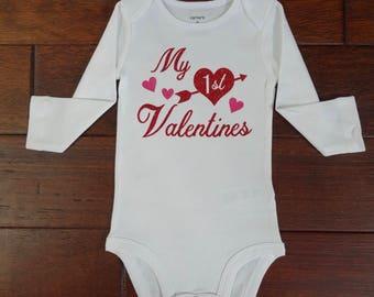 My First Valentines, Girl Valentines, valentines onesie