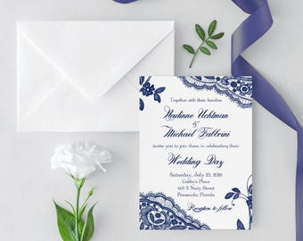 Lace Wedding Invitation, Printed Navy Lace wedding invite, navy blue Wedding Invitation, Invite, navy lace wedding invitation, navy wedding