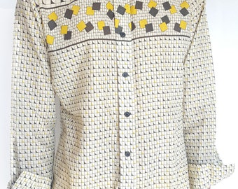 Vintage 1970s Abstract Square Patterned Long Sleeve Button-Up / Size (M/L)