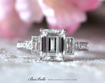 3.45 ct.tw Art Deco Ring-Engagement Ring-Emerald Cut Diamond Simulants-Bridal Ring-Wedding Ring-Promise Ring-Solid Sterling Silver [9711]