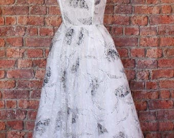 Genuine Vintage 80s Wedding Party Prom Dress Gown Retro Swing Rockabilly UK 10/12...US 6/8