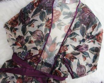 90's vintage floral sheer lingerie shawl size M