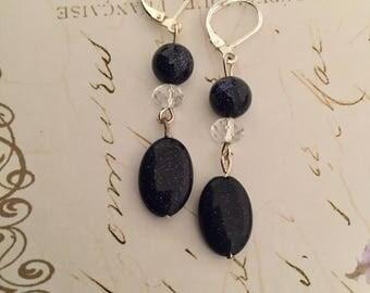 Black sparkle stone earrings