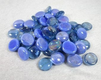 Blue And Dark Blue Glass Nuggets Blue Glass Cabochons Glass Mosaic Pebbles Mosaic Stones Craft Mosaic Glass Mosaic Tiles