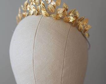 SALE -Greek Goddess Leaf Crown, Wedding Leaf Headband, Woodland, Leaf Branch, Wedding Tiara, Queen Wedding Headpiece, Bridal hairpiece, Gold