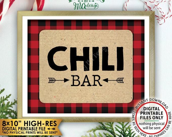 "Lumberjack Chili Bar Sign, Buffalo Plaid Chili Station Sign, Red Checker Christmas Decorations, PRINTABLE 8x10"" Instant Download Chili Sign"