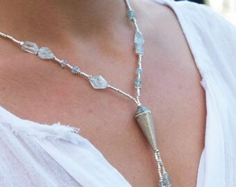 Aquamarine + Seashell Necklace with Thai Hill Tribe Silver