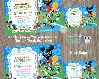 Mickey Mouse Clubhouse Invitation, Summer Invitation, Mickey Mouse Birthday, Mickey Mouse Party, Pool Party, Summer Birthday Invitation