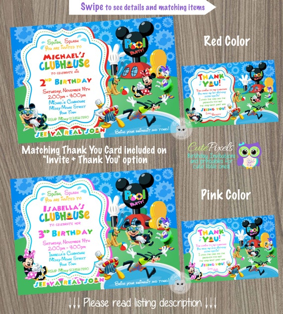 Mickey Mouse Clubhouse Invitation Summer Invitation Mickey Mouse