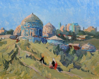 ANTIQUE ORIGINAL OIL Painting by Soviet artist Z.Zatsepina 1960s Road to the temple Townscape Religious buildings. Vintage Impressionist art
