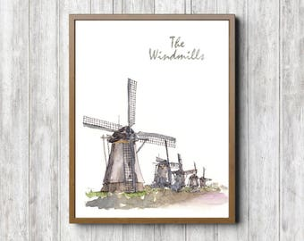 Windmill Wall Art windmill wall art | etsy