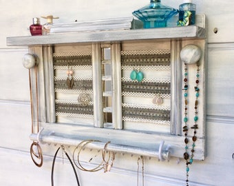"Wooden jewelry organizer - 16"" with shelf - Light charcoal - Lace for earrings - Jewellery rack - Rings & studs box - Glass mirrors - Knobs"