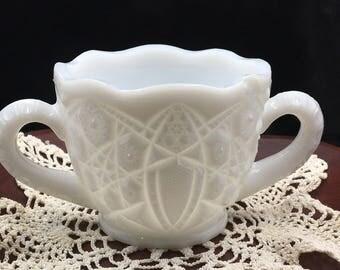 """McKee """"Toltec"""", Open Sugar Dish, 1940s, Milk Glass, Hobstar Milk Glass, Vintage Milk Glass, Hobstar Pattern, Vintage Milk Glass"""