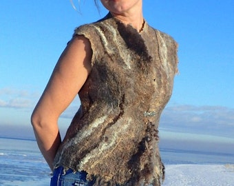 Eco felted vest READY to ship Felted Waistcoat boiled wool Felt vest Wool vest Boho Waistcoat Organic wool, eco friendly, urban hippie, OOAK