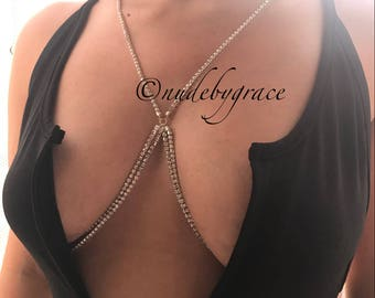 15% off, crystal bralette, bralette jewelry, bikini body jewelry, crystal bra, bralette chain, harness bralette, body chain, bralette