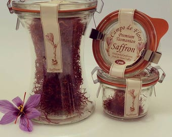 Campo de Flori Saffron. Grown, handpicked perfection from the Huon Valley. Pure golden saffron threads from the crocus sativus