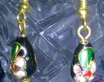 Handmade black cloisonne earrings