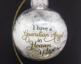 Guardian Angel in Heaven 80mm Shatterproof Bauble with feathers