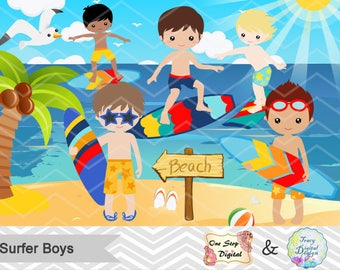 Digital Surfer Boy Clip Art, Instant Download Surfing Boy Clipart, Summer Beach Party Clipart, Surf Digital Clipart, Boy Surfer Clipart 0165