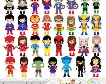 62 Little Girl Superheros Digital Clip Art, Little Boy Superhero Clipart, Superhero Party, Superhero kids, Superhero Combo Clipart, 0263