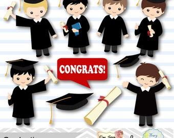 Graduation Boys Clipart, Boys Graduate DIgital Clip Art, Graduation Boy, Preschool kindergarten graduation Clipart, Graduate, Grad 00203