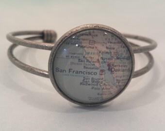 San Francisco Vintage Map Cuff Bracelet