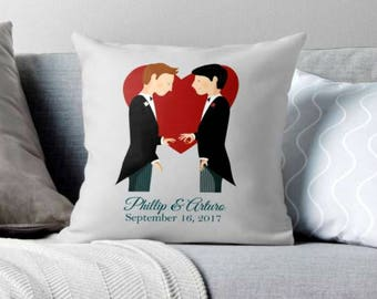 custom wedding,gay wedding, gay wedding gift,gay wedding decor,gay wedding decor, custom decor, custom pillow, gay pillow