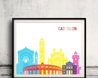 Castellon skyline poster - Fine Art Print Landmarks skyline Poster Gift Illustration Artistic Colorful Landmarks - SKU 2407