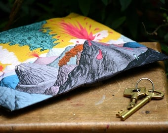Nice blue clutch with spectacular landscape of Volcanoes and Smokes, cotton and linen pouch, zipper, Hand-drawn