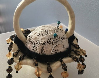 Ceramic basket pin cushion