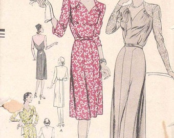 Vintage 1930s Vogue Dress Sewing Pattern with Flared Long or Short Skirt and Shaped Shoulder Yokes Size 18 Factory Folds