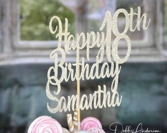 Happy Birthday Cake Topper, ANY AGE NAME, 18th Birthday Party, Birthday Party Decorations, Birthday Centerpiece Pick, Birthday Party Cake