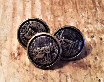 Vintage Set of 3 Scenic Victorian Buttons
